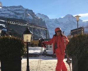 A real skibum50plus outside Eiger in Wengen